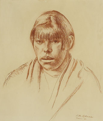 Kenneth Adams   Taos Woman, 1926   Conte Crayon on Paper   14 x 12