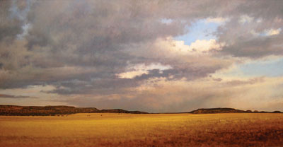 Evening Clouds, San Cristobal, New Mexico   Oil on Board   24 x 48