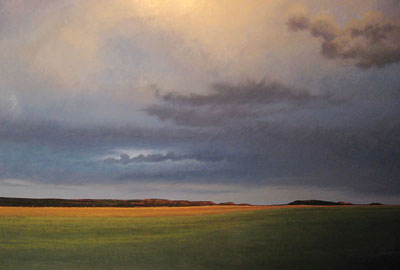 Twilight, White Bluffs, New Mexico   Oil on Board   48 x 72