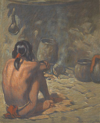 Warren E. Rollins (1861-1962)   Tending the Fire
