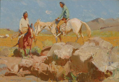 O. E. Berninghaus   Taos Riders, ND   Oil on board   9 x 13, Courtesy of Matthew Chase Ltd.