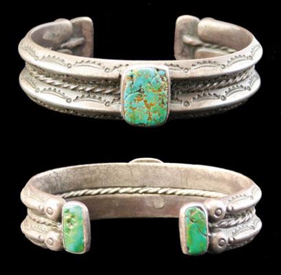 Navajo Three Turquoise Stone Bracelet