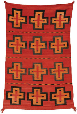 Navajo Child's Blanket with Spider Woman Crosses   c. 1890    51 x 31