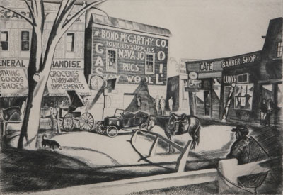 Howard Cook (1901-1980)    Taos Plaza     c. 1926-27    Etching    8 x 12