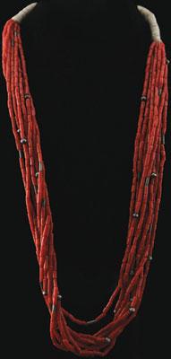 Navajo 9 Strand Coral Necklace