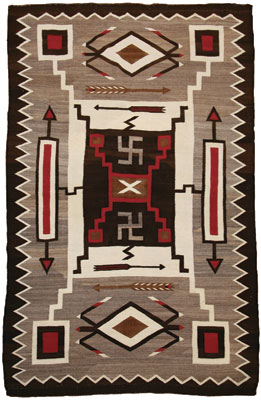Navajo Crystal Storm Pattern with Whirling Logs   c. 1920     86 x 56