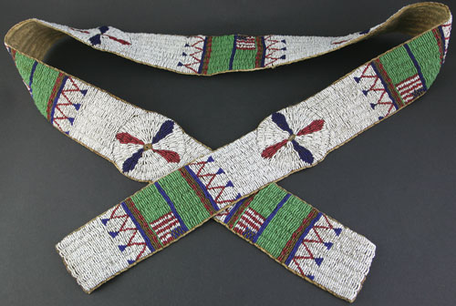 Sioux Beaded Blanket Strip with American Flags
