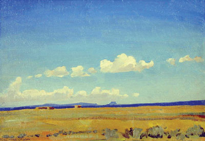 Skies of New Mexico #19    July 1931    Oil on Canvas Board   10 x 14