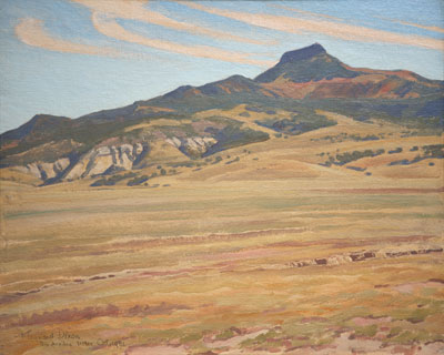 "Picacho Solito    Oil on Canvas Board   16 x 20    Signed ""Rio Arriba, NM 1931"""