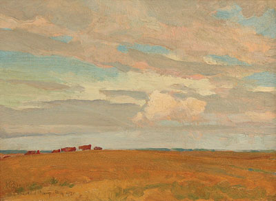 Prairie, Sand Hill Camp, May 1921  Oil on board   10 x 13.5