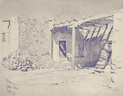 "Adobe Dwelling of Isleta    Signed ""Isleta, N. Mex. Sept. 1900""    Graphite on Paper   9.5 x 12"