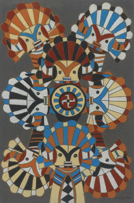 Emil J. Bisttram (1895-1976)   Kachinas    c.1940