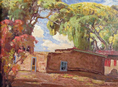 Carl Redin (1892 -1944)   Adobe Casa with Chiles