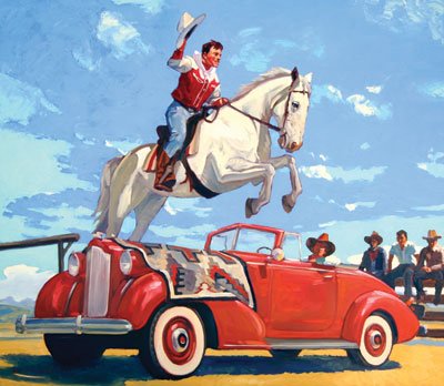 Dennis Ziemienski     The The Flying Buckaroo    Oil on Linen     42 x 48
