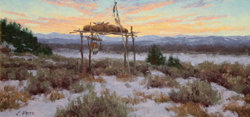 Charles Fritz    Absaroka Burial      Oil on Canvas Board     8 x 16