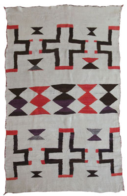 Navajo Ganado Textile with Spider Woman Crosses   c. 1890    69.5 x 45