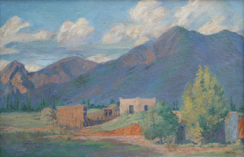 Ralph Goltry (1884-1971)   Adobe Home     c. 1930    Oil on Canvas     18 x 28