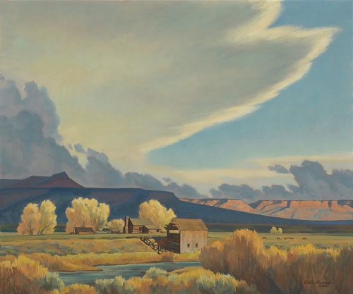 Edith Hamlin (1902-1992)   Homestead on the Sevier    c. 1948    Oil on Canvas     25 x 30