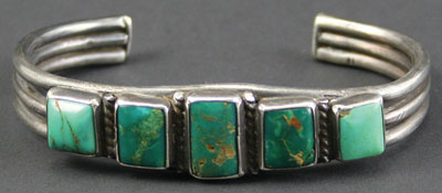 Navajo Row Bracelet with Hand Pulled Wire