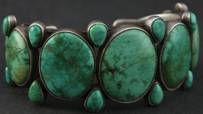 Navajo Turquoise and Silver Bracelet c. 1910
