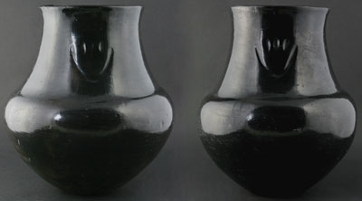 Pair of Bear Paw Black Water Jars attributed to Margaret Tafoya    c. 1930   12 x 10.5 each