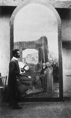 Carlos Vierra painting mural, St. Francis Auditorium, Fine Arts Museum, Museum of New Mexico, Santa Fe, NM, c. 1917