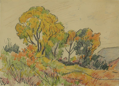 Warren E. Rollins (1861-1962)   Farmington, NM     Crayon on Paper   8 x 11