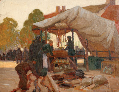 Victor Higgins (1884-1949) A Market Place in France, c. 1912-13, Oil on Canvas Board, 14 x 18
