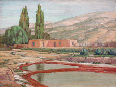 Carlos Vierra (1876-1937)    Ranchito - Cuyamungue     c. 1928   Oil on Board   18 x 24