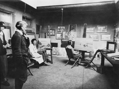 Warren E. Rollins in his studio, Palace of the Governors, Santa Fe, NM, c. 1910
