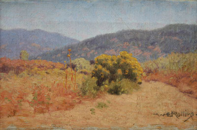 Warren E. Rollins (1861-1962)   Chamisa     Oil on Canvas   10.75 x 15
