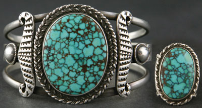 Navajo Number 8 Turquoise Bracelet and Ring Set     c.1930