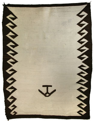 Navajo Double Saddle Blanket with Hashknife Ranch Brand   c. turn of the century   50 x 38.5
