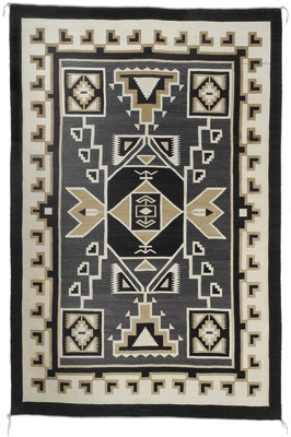 Navajo Two Grey Hills Storm Pattern Textile by Daisy Tauglechee