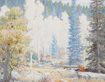 Carl von Hassler (1887-1969)    Aspens     c. 1932   Tempra on Board   16 x 20