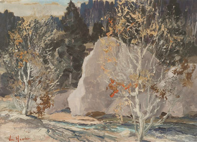 Carl von Hassler (1887-1969)    Fall Colors    Oil on Paper   Original Frame   13 x 18