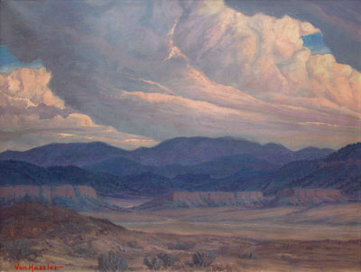 Carl von Hassler (1887-1969)    Looking Towards Jemez    Oil on Canvas   27 x 36