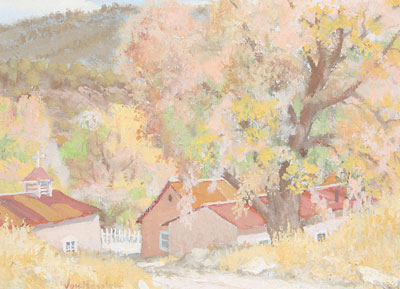Carl von Hassler (1887-1969)    Autumn Splendor     c. 1930   Egg Tempra   12 x 16