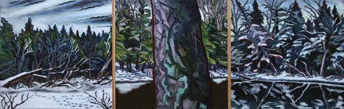 James Woodside      Magalloway River Triptych     Oil on Panel     19 x 56