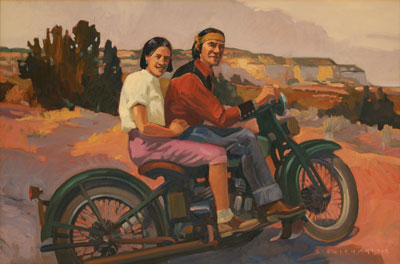 Dennis Ziemienski     Indian Motorbike     Oil on Canvas     20 x 30