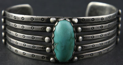 Navajo Turquoise and Silver Bracelet     c. 1900