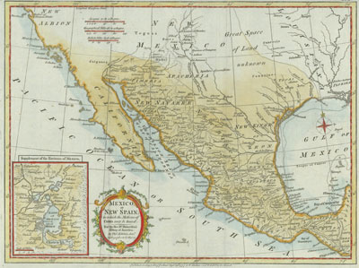 Mexico or New Spain, published in London in 1777 showing New Mexico and Louisiana.
