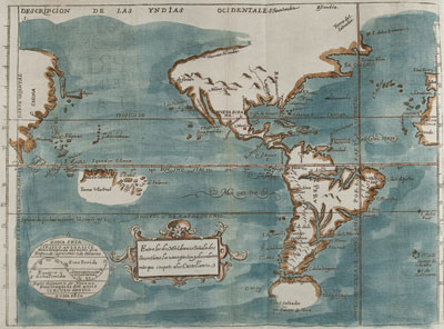 Map from Volume I of Monarquia Indiana by Juan de Torquemada, published in Madrid in 1723, showing New Mexico as the undefined territory north of the settled parts of Mexico. Courtesy Fray Angélico Chávez History Library.