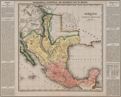 American-made Geographical, Statistical, and Historical Map of Mexico from 1822 showing New Mexico restricted to the Rio Grande Valley and the US claiming territory deep into what is now Oklahoma. The now smaller area between New Mexico and US-owned Louisiana still is unlabeled. Courtesy Fray Angélico Chávez History Library.
