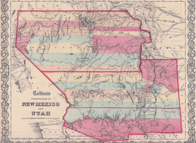 Colton's Territories of New Mexico and Utah published in New York in 1855 showing New Mexico and Arizona divided north/south rather than east/west.  At this time New Mexico still included what is now the southern tip of Nevada and the southeastern corner of Colorado. Courtesy Fray Angélico Chávez History Library.