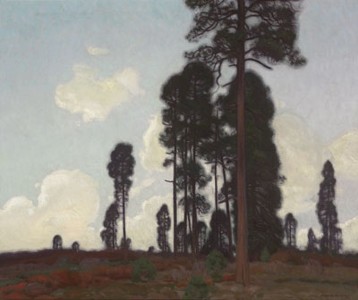E. Martin Hennings (1886-1956)    Towering Pine    Oil on Canvas    c. 1920    25 x 30