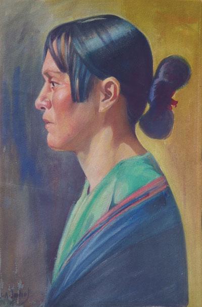 Joseph Imhof (1871-1955) Anna, Watercolor, Anna Sandoval of Taos Pueblo,16.25 x 11