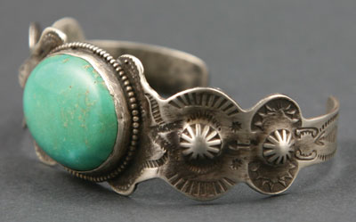 Navajo Fred Harvey Turquoise and Silver Bracelet   c. 1930   Size 7