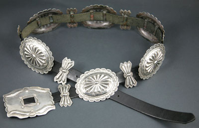 Navajo Silver and Leather Belt   c. 1940   41