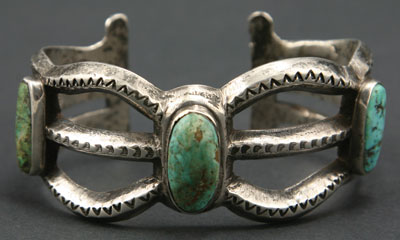 Navajo Ingot Silver Sandcast and Turquoise Bracelet   c. 1900   Size 6.75